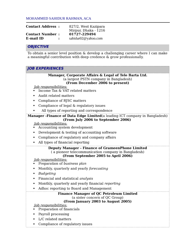 financial reporting manager resume sample