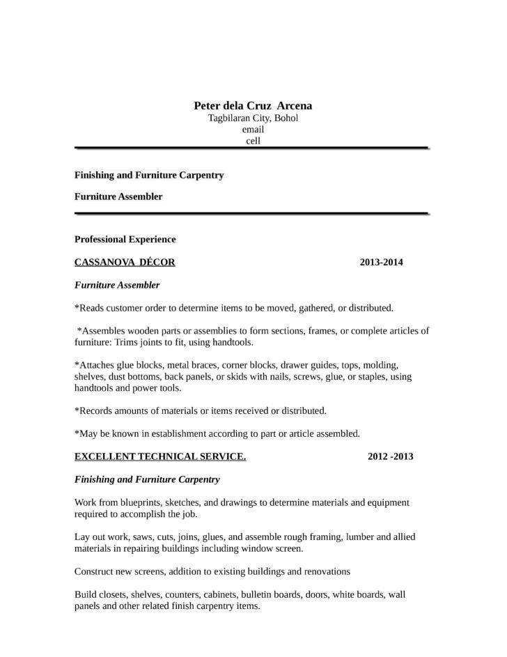 carpenter resume samples free