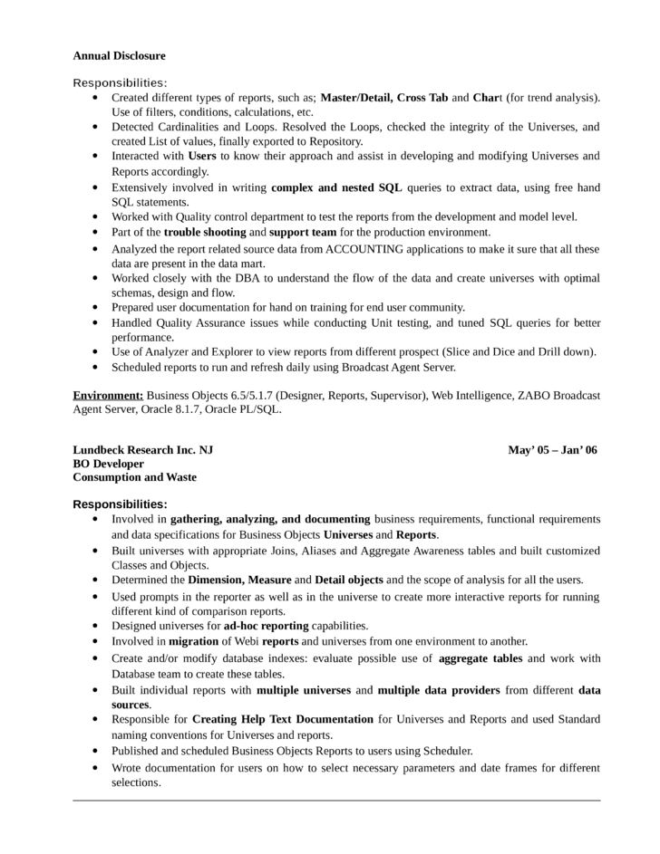 sample resume business objects developer resume for college