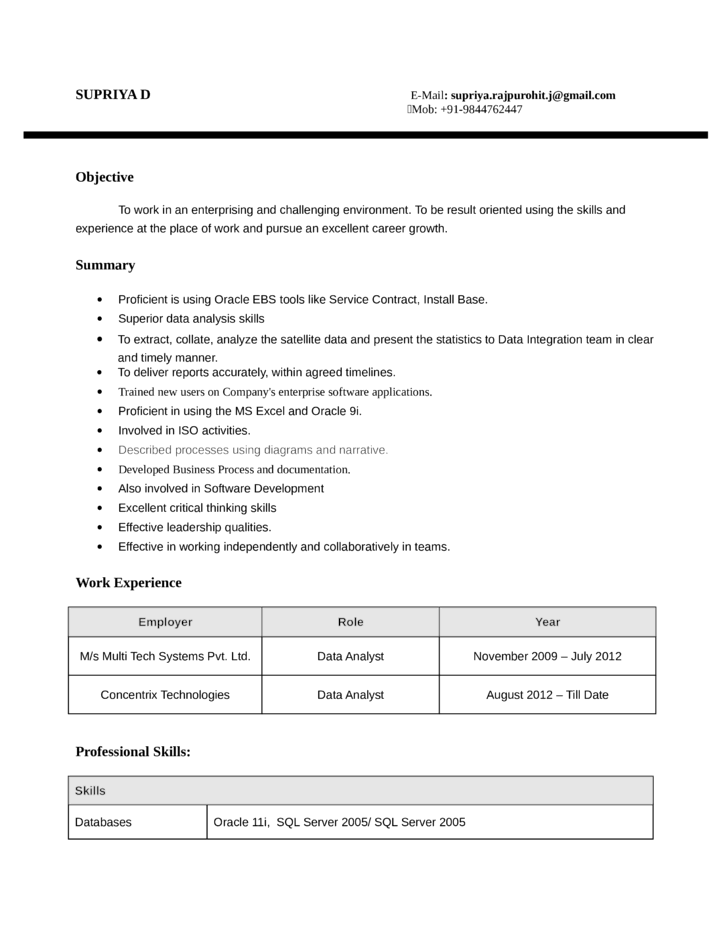 mis resume sample