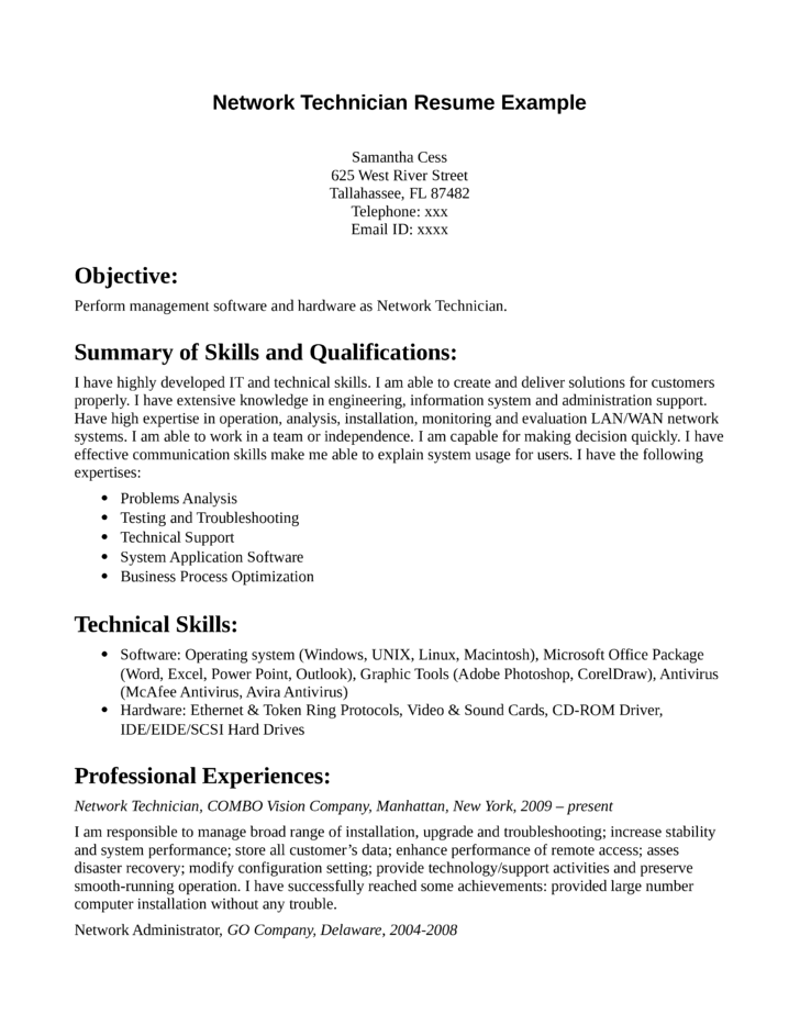 network technician resume example network administration