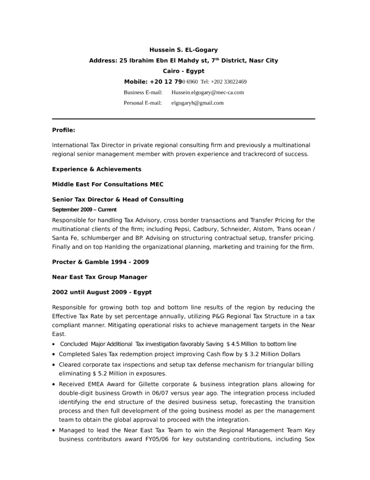 tax manager resume