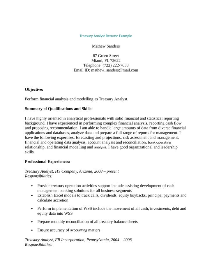 Cv Maker Online For Free Professional Resume Cvlogin Professional Treasury Analyst Resume Template