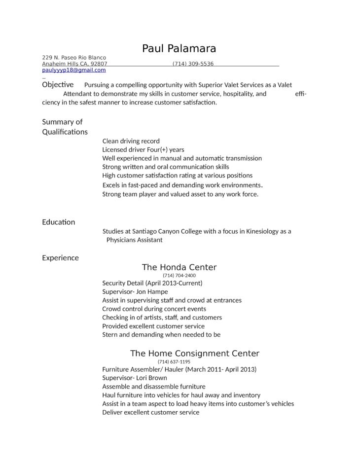 valet job description resume