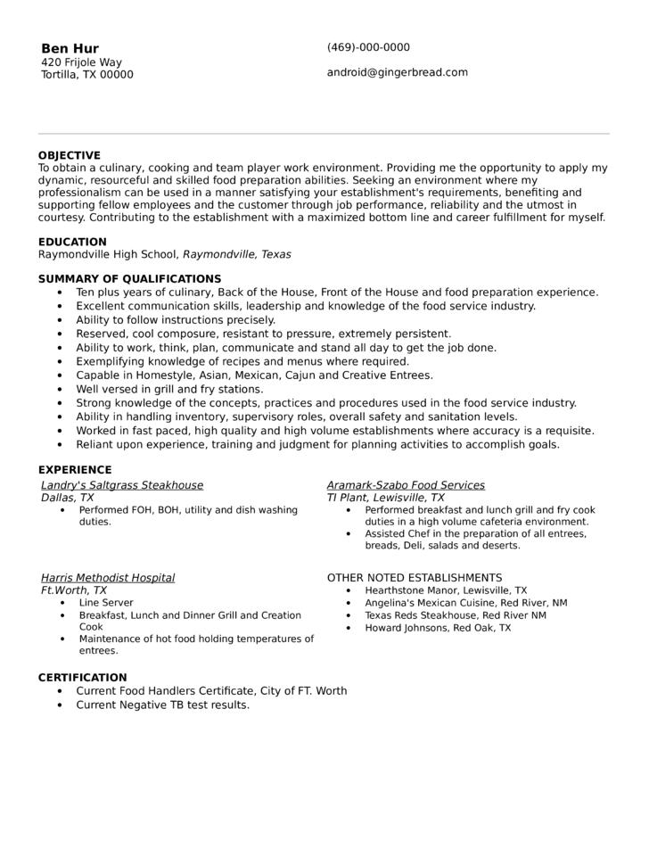 cook resume examples australia