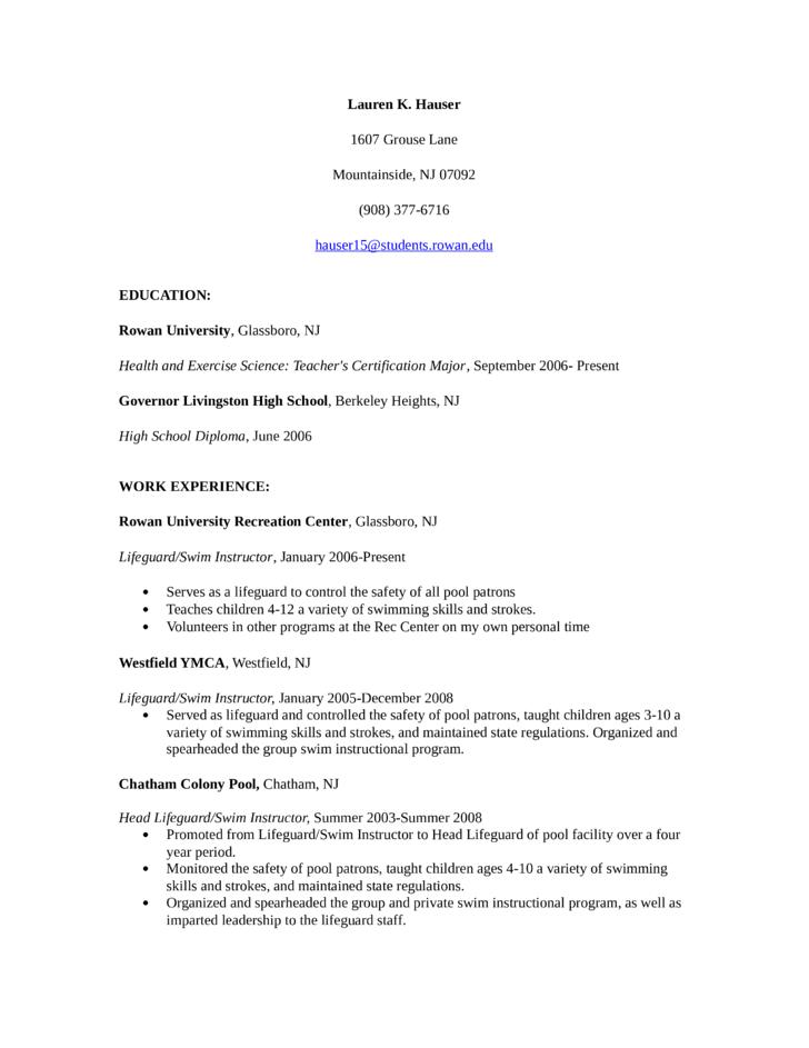 ymca lifeguard resume