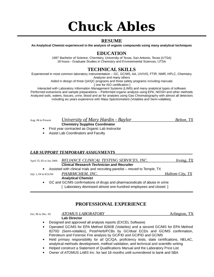 Example Of Waitress Resume  Chemist Resume