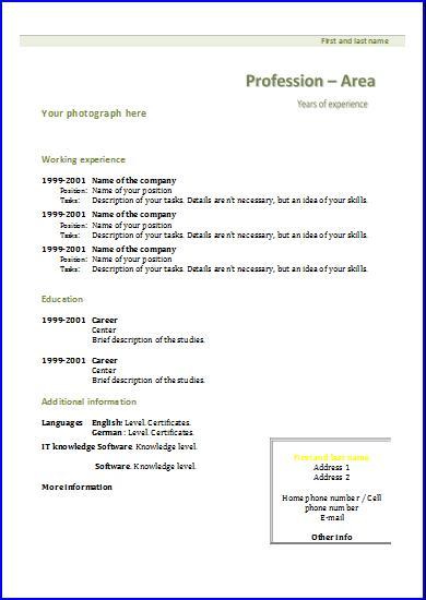 Chronological CV Templates Resume templates - european resume template