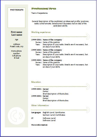 Chronological CV Templates Resume templates