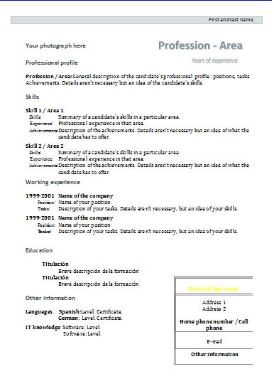 CV formats and templates Resume templates - templates of resumes