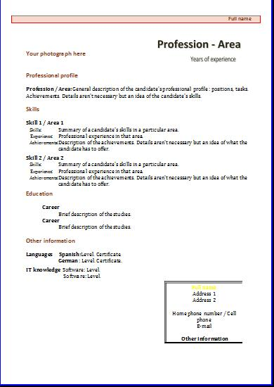cv profile section examples