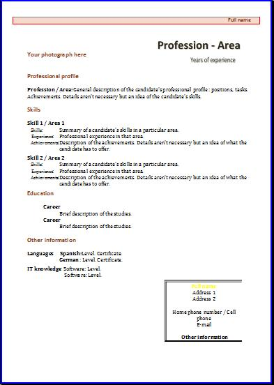 CV formats and templates Resume templates - Samples Of Cv Format