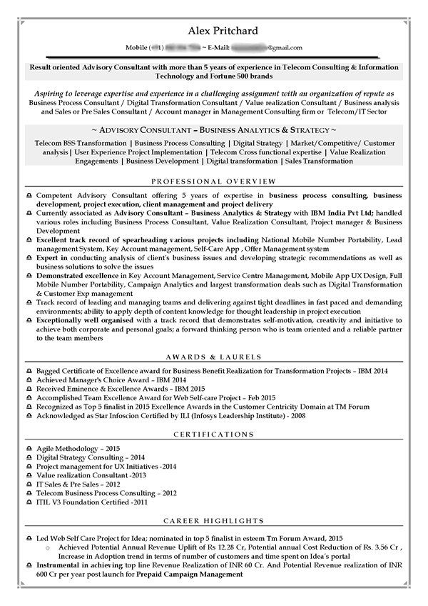 business management cv sample