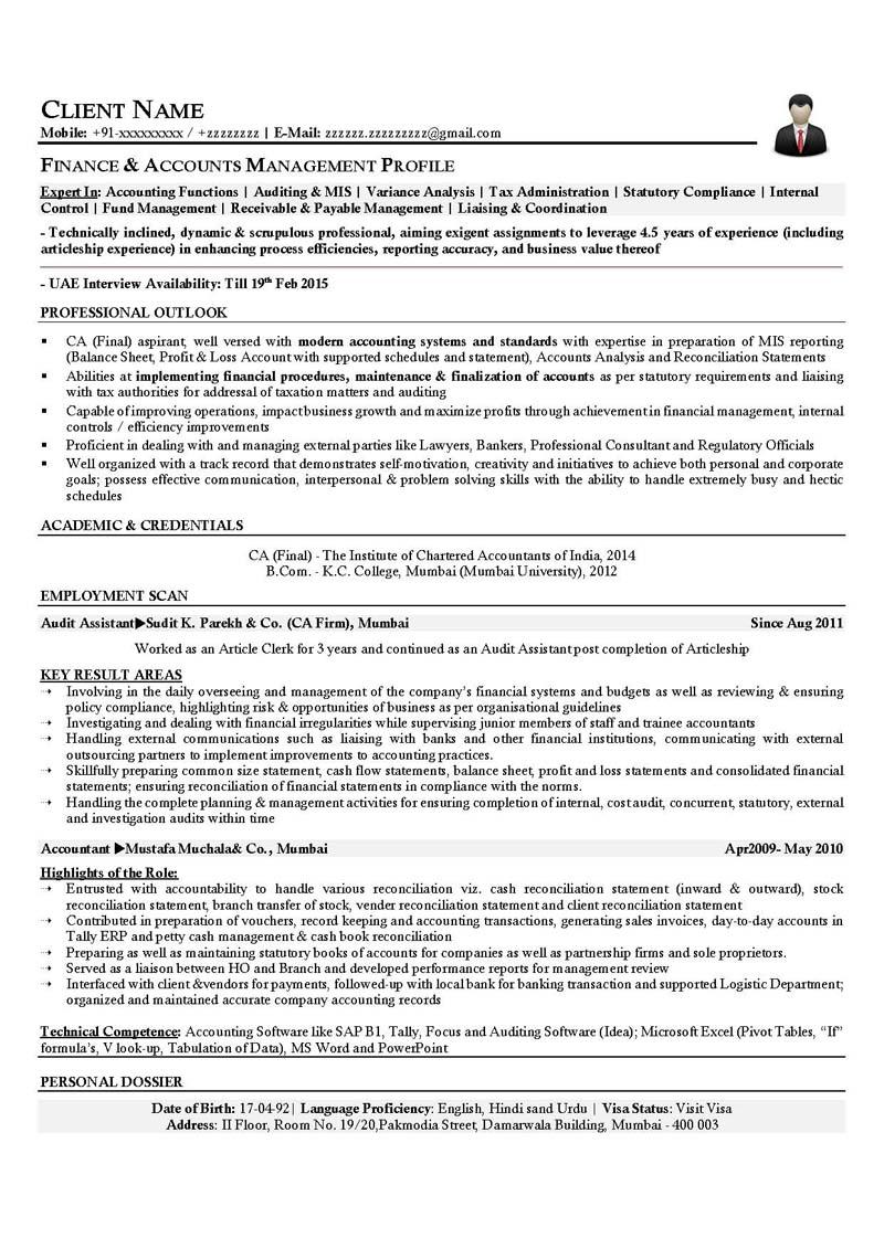 resume builder template for management