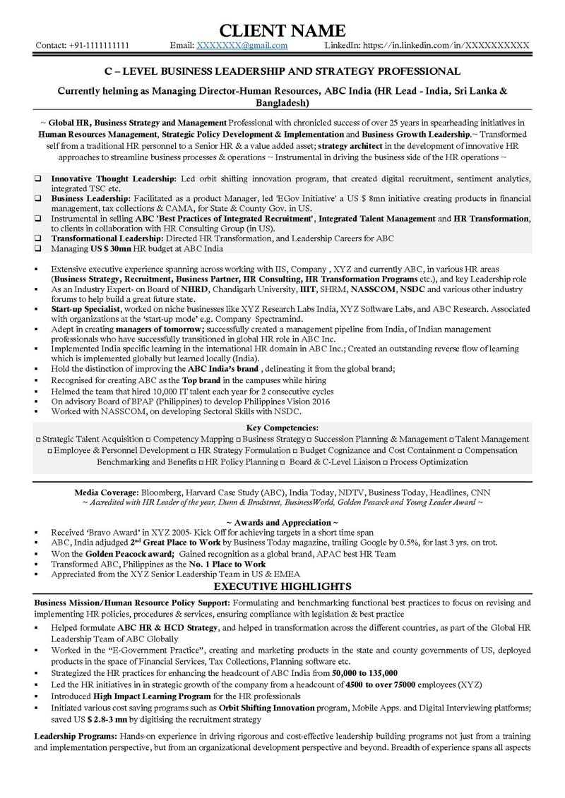 Free Executive Resume Review  C Level Resume