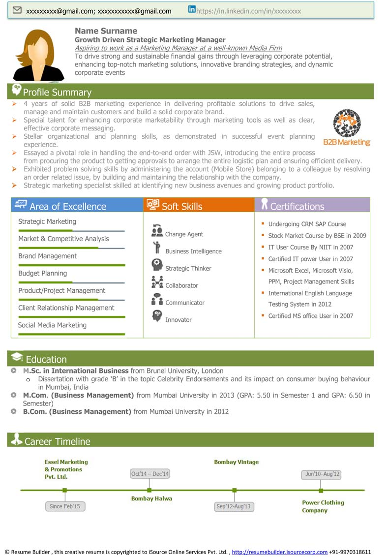 marketing manager cv template