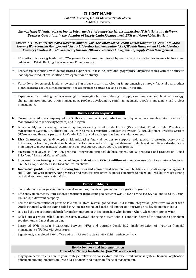resume builder for management position