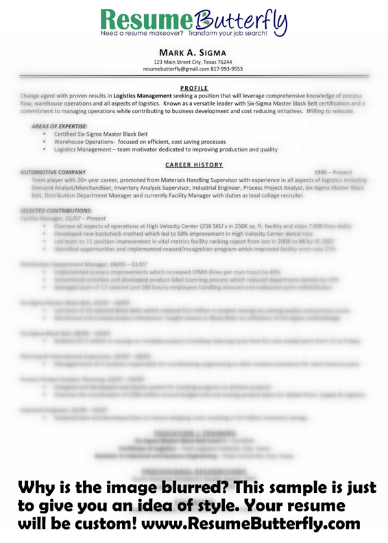 Resume Makeover - AFTER - Resume Butterfly com - Manager - Six Sigma