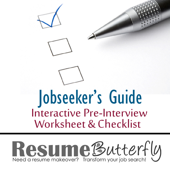 Job Search Pre-Interview Worksheet and Checklist - Resume Butterfly - resume search