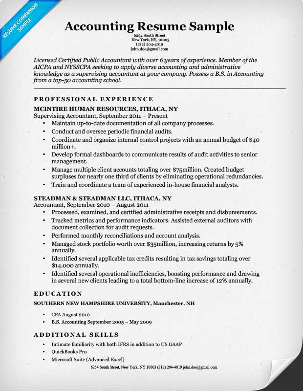Accounting Resume Accountant Resume Sample And Tips Entry Level