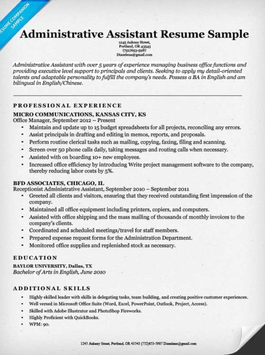 Resume Administrative Assistant Sample Best Administrative - office assistant sample resume