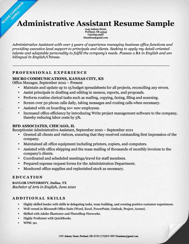 Resume Sample Of Administrative Assistant real estate - office assistant sample resume