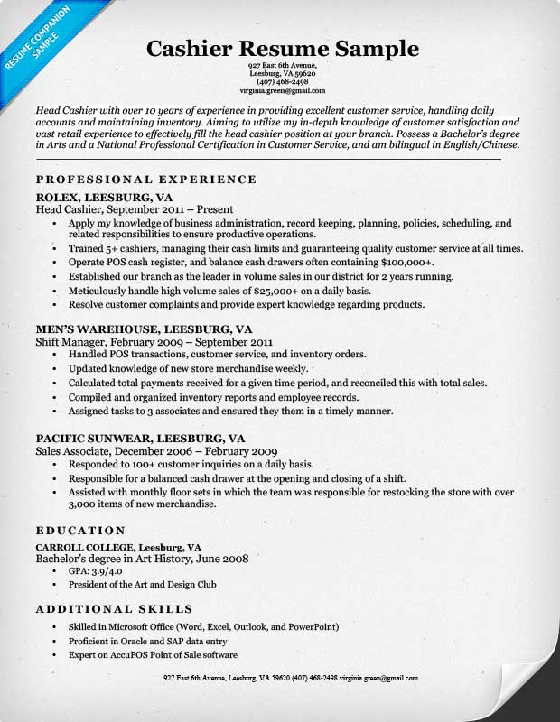 grocery store cashier description for resume 28 images