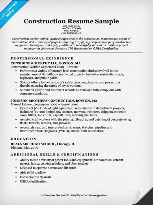 construction resume efficiencyexperts us