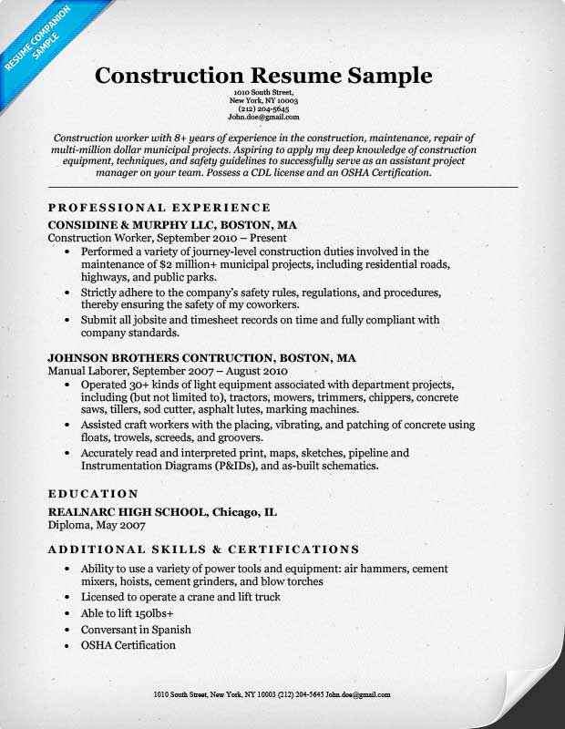 Construction Resume Sample Resume For A Construction Manager - construction assistant sample resume