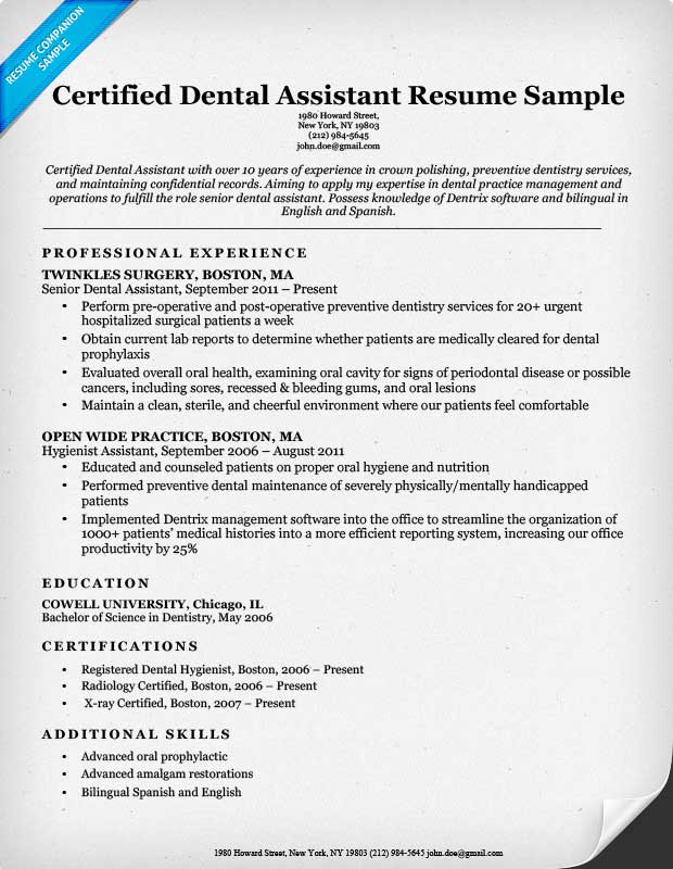 Example Of Dental Assistant Resume - Examples of Resumes