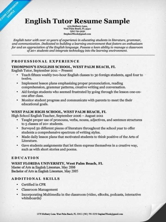 English Tutor Resume Sample Resume Companion - tutor resume