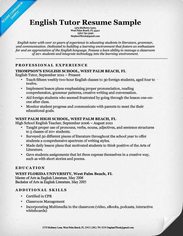 resume example in english - zrom