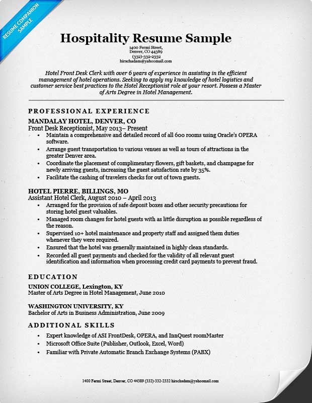 resume samples hotel industry
