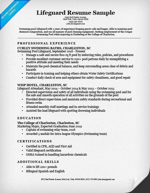 sample lifeguard resume example
