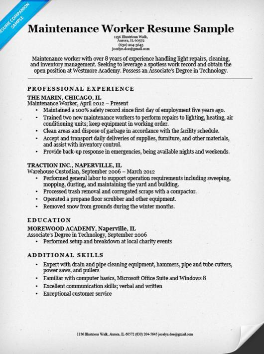 sample resume for warehouse worker