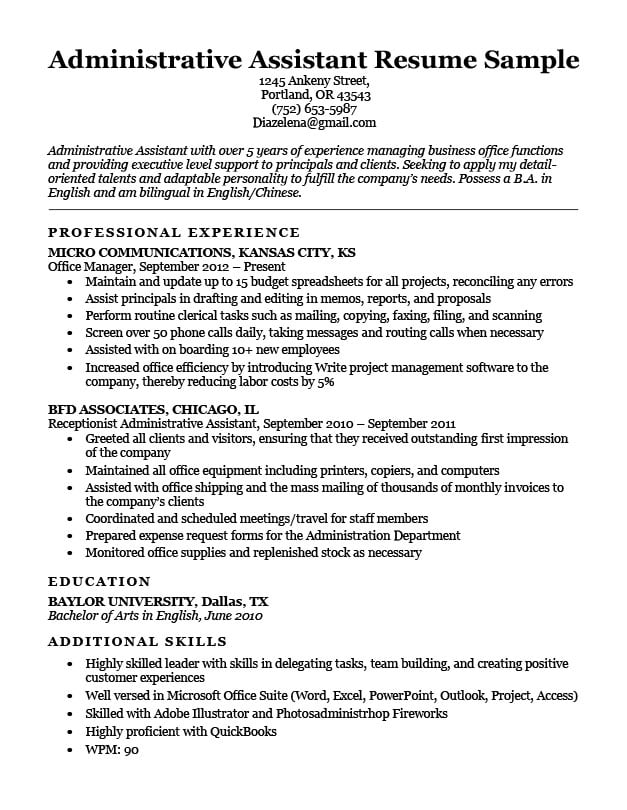 Administrative Assistant Resume Example Write Yours Today - samples of resumes for administrative assistant