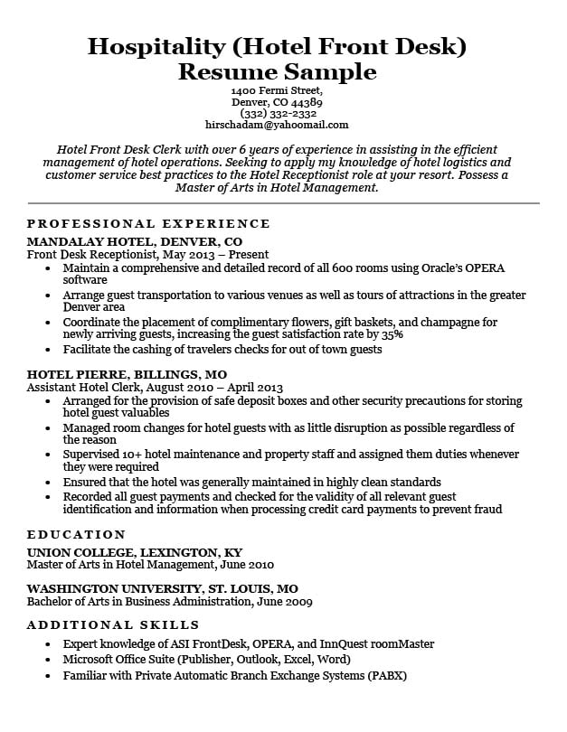 Hotel Clerk Resume Sample Resume Companion - Hospitality Resume