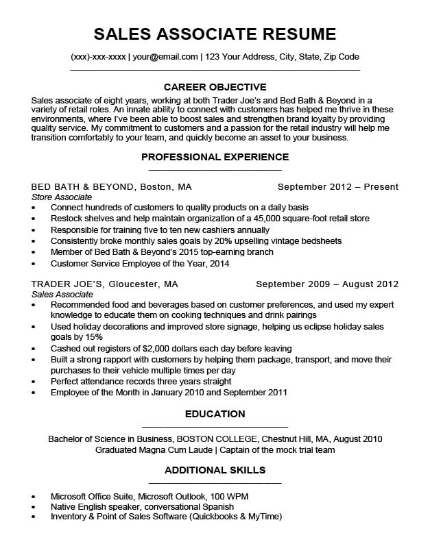 Sales Associate Resume Sample  Writing Tips Resume Companion - Retail Sales Associate Resume Template