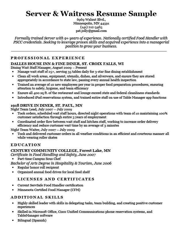 Server  Waitress Resume Sample Resume Companion - Examples Of Waitress Resumes