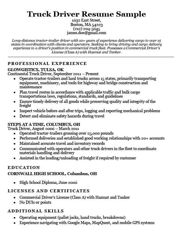resume description of truck driving