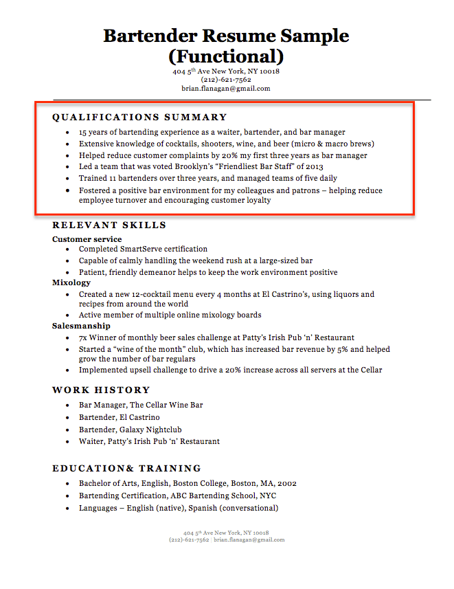 summary of qualification in resumes