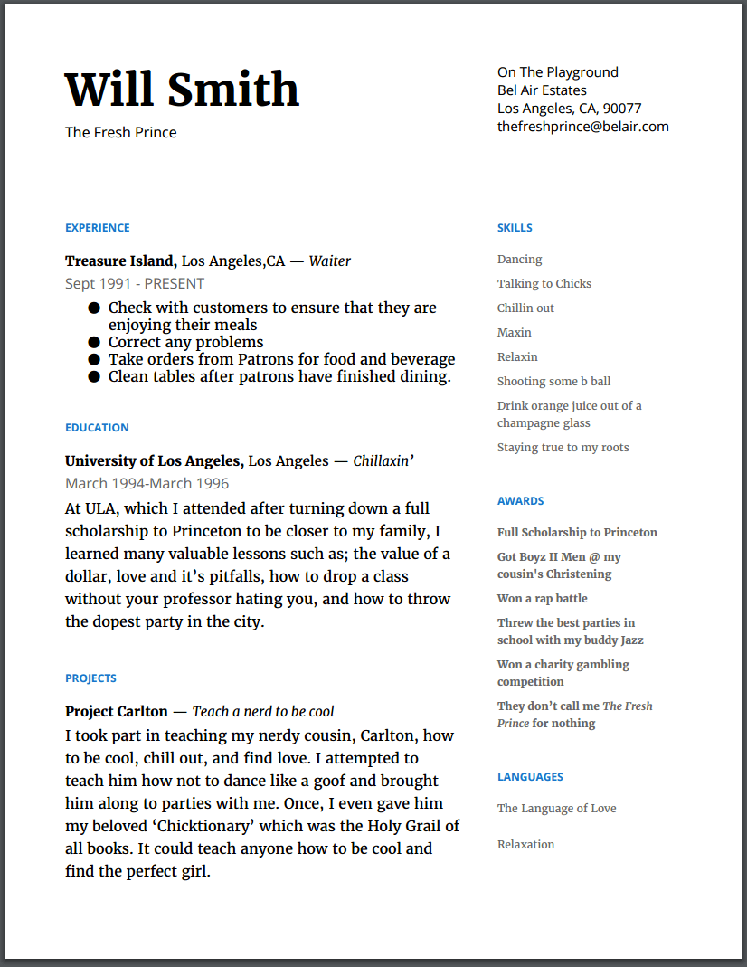 Resume examples byu