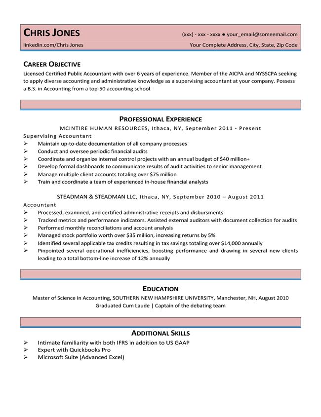 resume template for a beginner