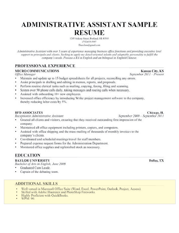 resume skills section microsoft office