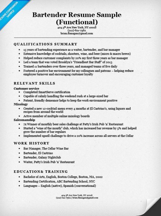 Bartender Example Resume - Examples of Resumes - perfect bartender resume