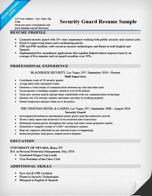 Security Guard Resume Event Security Guard Resume Template In Pdf