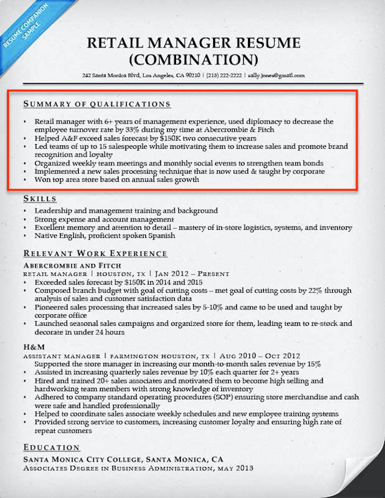 resume qualifications examples