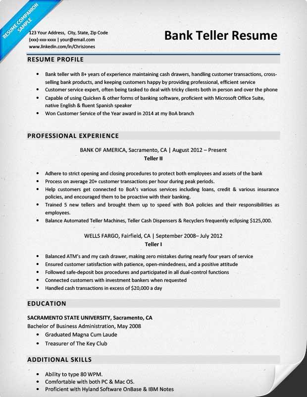bank of america teller resume sample