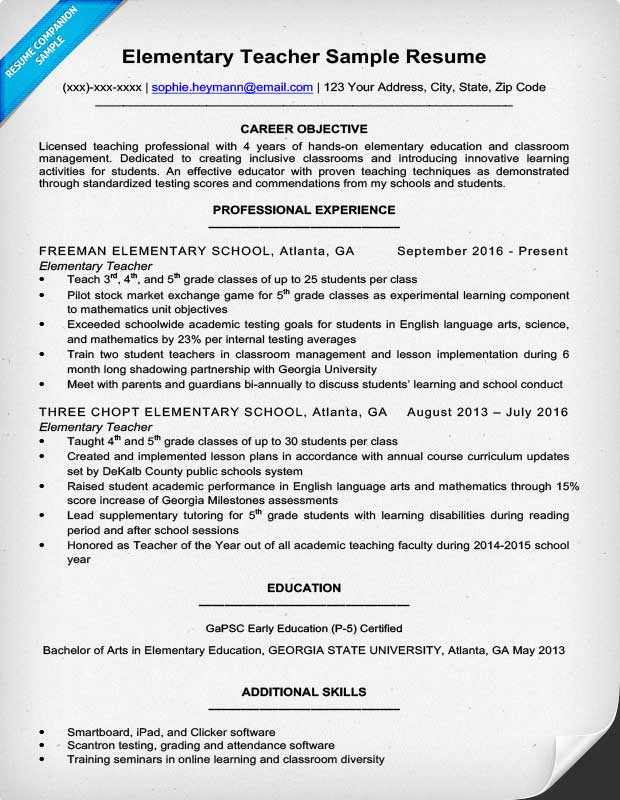 Example Of An Resume Resume Example For A Elementary Teacher - example resume teacher