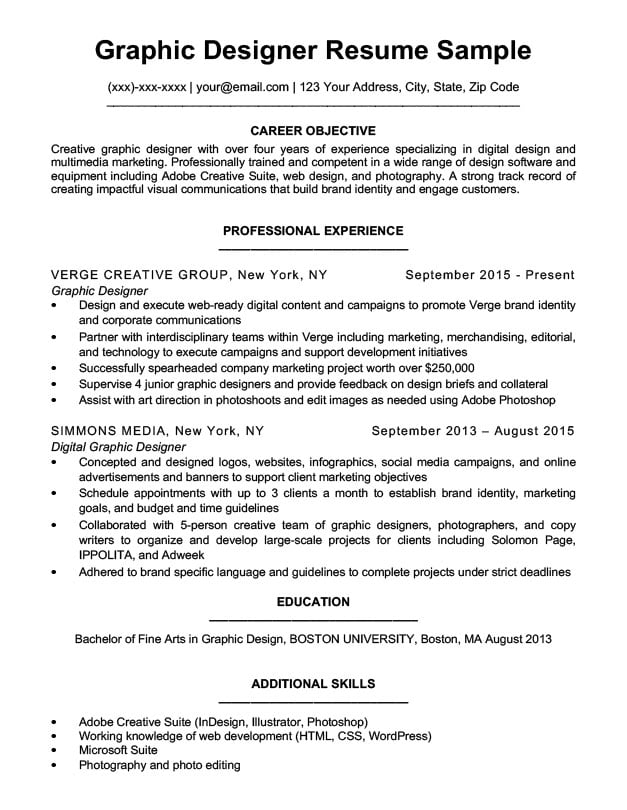 Graphic Design Resume Sample  Writing Tips Resume Companion - web design resume